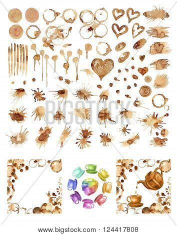 Coffee paint stains splashes and harts isolated on white background. Coffee cup marks. Hand painted coffee background.