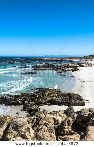 View of a sand beach along the coast of Monterey, California