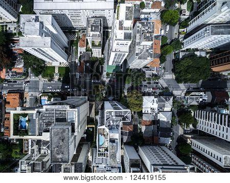 Top view of metropolitan city