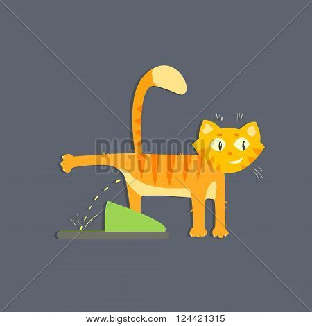 Cat Peeing Funny Flat Vector Illustration In Creative Applique Style