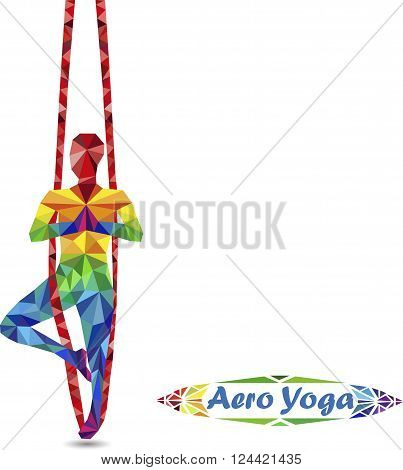 Aerial Yoga. Anti-gravity Yoga. Aero Yoga. Image of triangles