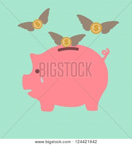Piggy Bank Cry When See Dollars Flying Away