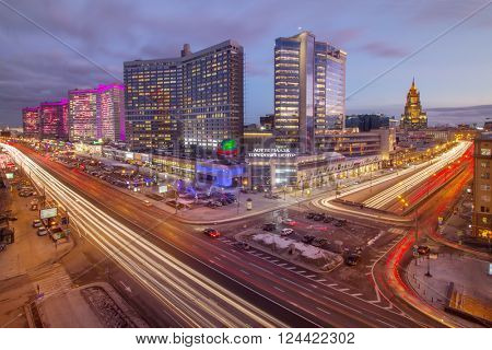 MOSCOW - FEB 4, 2016: Garden Ring road and Night Highway New Arbat, was built in 1963