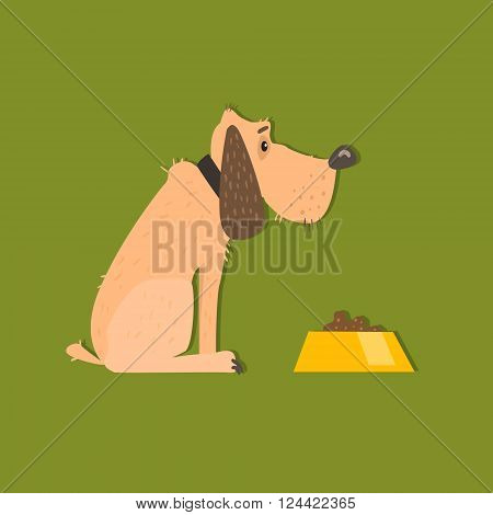 Bloodhound With Food Bowl Funny Flat Vector Illustration In Creative Applique Style