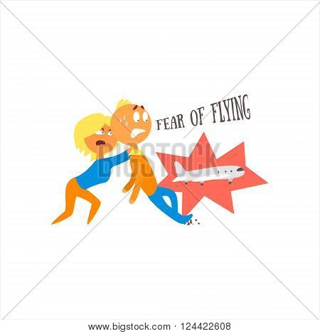 Fear Of Flying Simplified Design Flat Vector Illustration On White Background