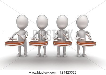 3D Group Of Men Beating Drums Concept