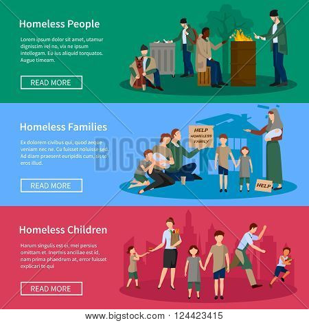 Homeless Banner Set with people living on the street without food and money asking for help from passersby vector illustration