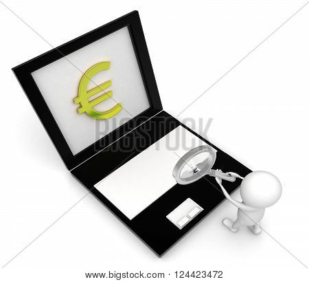 3D Man Holding Magnifier In Hand And Searching Pound Symbol Projected In Laptop Screen Concept