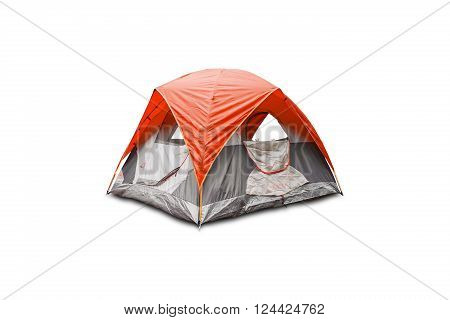 Orange dome tent isolated on white background with clipping path