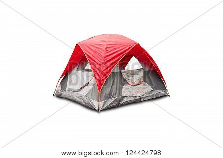 Red dome tent isolated on white background with clipping path