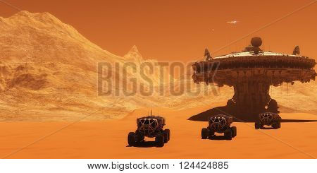 Mars Outpost 3D illustration - A spacecraft takes off from Mars to return to Earth as all-terrain vehicles embark on an exploratory mission.