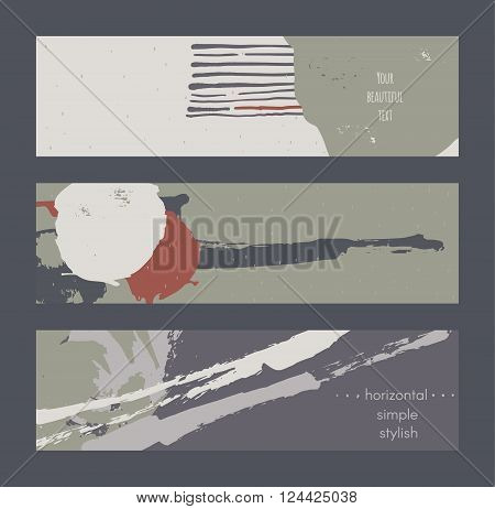 Set of horizontal banners handdrawn decorated with liquid ink brush splashes stripes strokes and spots. Isolated on dark background vector branding illustration stylish with imperfect parts.
