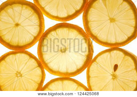close up of the lemon slices texture