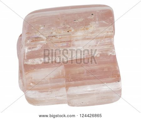 Rose tourmaline crystal macro isolated on white backround