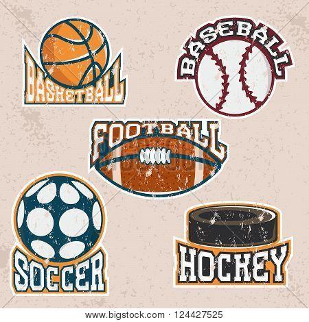 Set Of Grunge Vintage Vector Sport Labels And Elements