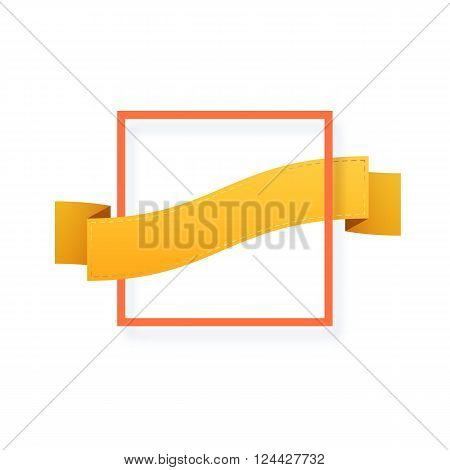 Frame isolated on white. Festive frame. Ribbon for the congratulatory text. Decorative element.