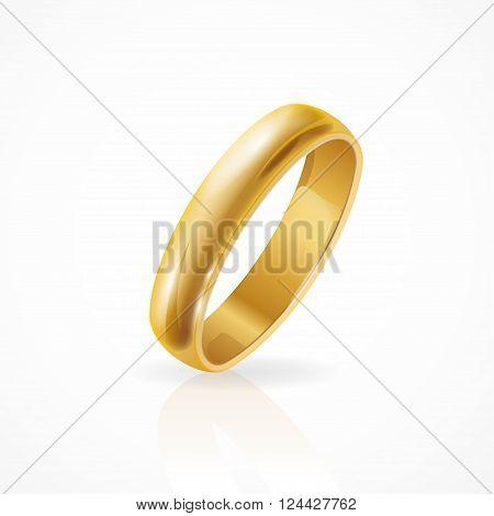 Shining Golden Ring. Symbolic Jewelry. Vector illustration