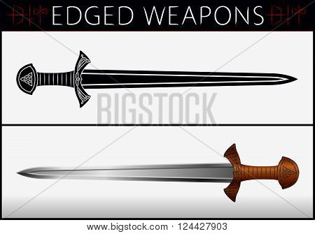 Постер, плакат: Sword Gladius Medieval Weapons Collection Of Vector Edged Weapons, холст на подрамнике