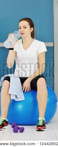 Woman Drink Water At Fitness Workout
