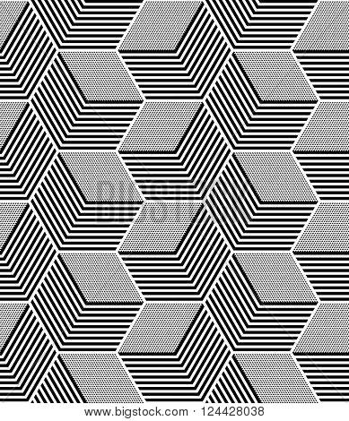 Seamless op art pattern. Geometric hexagons and diamonds texture. Vector art.