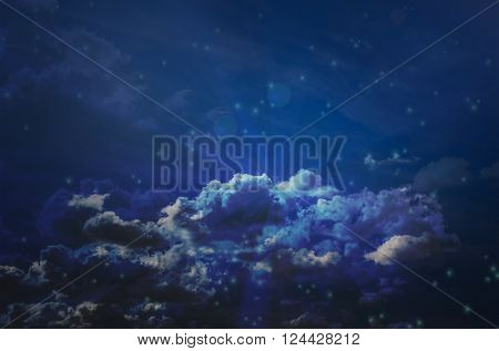 Abstract colourful dreamy dark blue sky background
