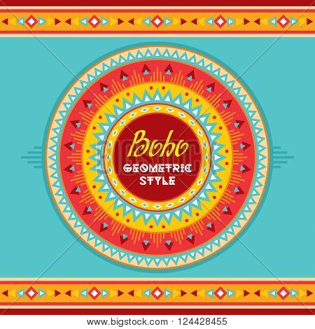 Boho geometric style circle badge. Ethnic abstract background. Tribal vector pattern. Boho fashion style. Decorative design for fashion print, backgrounds, greeting cards and other design projects.
