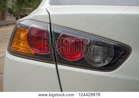 Back end lighting of car red yellow and clear