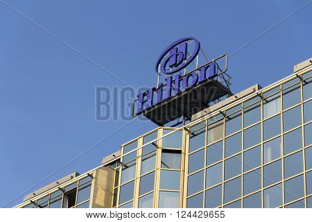 Prague, Czech Republic - March 31: Hilton Hotels And Resorts Logo On The Building Of Hilton Prague H