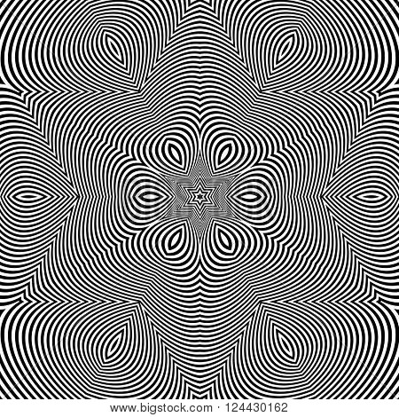Black and White Geometric Pattern. Abstract Striped Background. Vector Illustration.