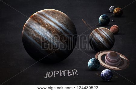Jupiter - High resolution images presents planets of the solar system on chalkboard. This image elements furnished by NASA