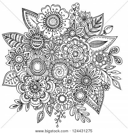 Vector illustration with hand drawn doodle fancy flowers bouquet. Ornate zentangle floral illustration for coloring book