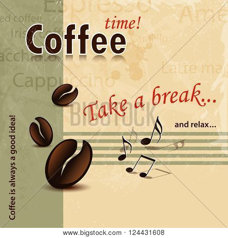 Take a break coffee background retro - abstract coffee cover concept