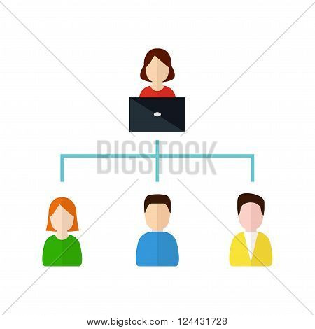 Customer Relationship Management. Scheme of relationship between manager and customers, vector illustration. CRM and accounting system concept in flat style. Manager fills the client account.