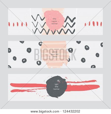 Set of horizontal banners handdrawn decorated with liquid ink brush splashes stripes strokes and spots. Isolated on light background vector branding illustration stylish with imperfect parts.