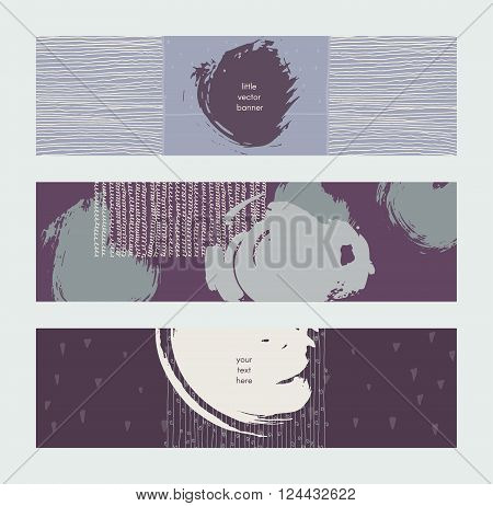 Set of horizontal banners handdrawn decorated with liquid ink brush splashes stripes strokes and spots. Isolated on grey background vector branding illustration stylish with imperfect parts.