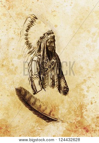 drawing of native american indian foreman Sitting Bull - Totanka Yotanka according historic photography, with beautiful feather headdress