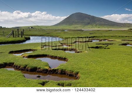 Ceapabhal hill and tital inlets or saltings at An Taobh Tuath or Northton on the Isle of Harris, Scotland.