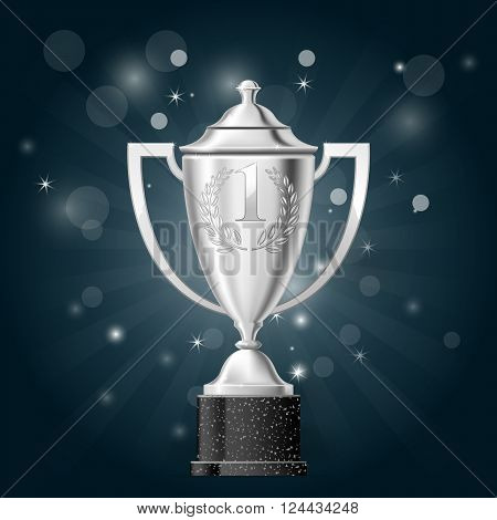 Silver cup with laurels - first place award