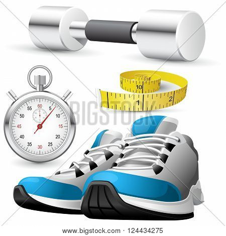 Pair of running shoes stopwatch and measuring tape