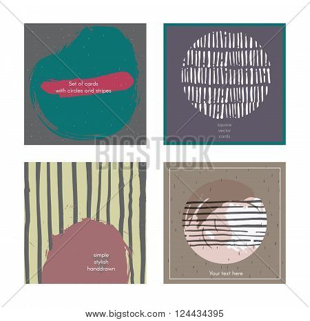 Set of square cards handdrawn decorated with liquid ink brush splashes blots stripes strokes and spots. Isolated on white background vector branding illustration stylish with imperfect parts.