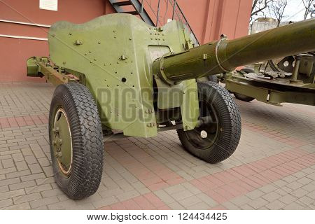 Soviet anti-tank gun of the Second World War in St.Petersburg Russia.