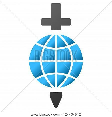 Global Safety Sword vector toolbar icon for software design. Style is a gradient icon symbol on a white background.