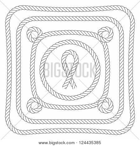 Rope frames with loops - square and round