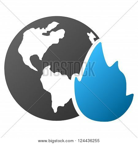 Planet Flame vector toolbar icon for software design. Style is a gradient icon symbol on a white background.