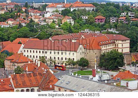 CROATIA ZAGREB 12 JUNE 2013: View of Zagreb city roofs Croatia