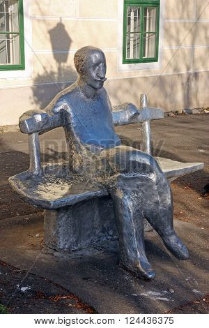 CROATIA ZAGREB 11 NOVEMBER 2015: Sculpture of Antun Gustav Matos one of Croatia's most famous writers made by Ivan Kozaric Zagreb Croatia