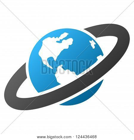 Ringed Planet vector toolbar icon for software design. Style is a gradient icon symbol on a white background.