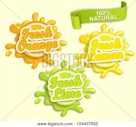 Set of Lemon, orange, lime juece labels splash. Lettering, splash and blot design, shape creative vector illustration.