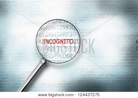 reading the word incognito on computer screen with a magnifying glass internet security