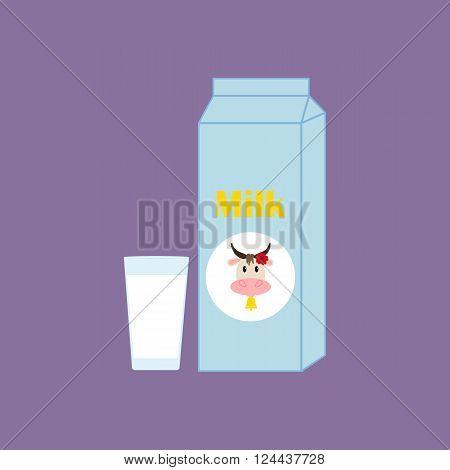 Milk Carton Package. Glass of milk. Vector illustration